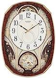 リズム時計 電波 掛け時計 スモールワールドノエルM からくり時計 木目 4MN513RH23