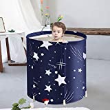 Foldable Bathtub Portable Soaking Bath Tub,Eco-Friendly Bathing Tub for Shower Stall,Thickening with Thermal Foam to Keep Temperature,Blue Sky