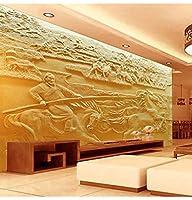 Wuyyii 3D壁紙カスタム写真の壁紙不織布の壁紙馬ボルト石の彫刻テレビBackwallリビングルーム寝具ルーム3D壁画
