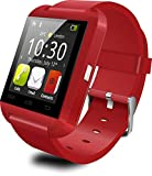 Smart Watches Best Deals - Antech Bluetooth smart watch U8 スマート ウォッチ 1.44インチ 超薄型フルタッチ ウォッチ 多機能 時計 健康 for Sony HTC Samsung ISO (Red)