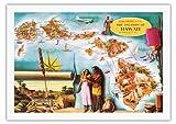 ハワイ諸島のアロハ航空路線 - ビンテージなハワイアンカラーの地図製作のマップ によって作成された ドン・アリソン - 美しいポスターアート