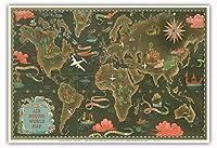 世界地図 - ビンテージな航空会社のポスター によって作成された ルシアン・ブーシェ c.1948 - アートポスター - 33cm x 48cm