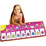 ピアノミュージックマット, 動物女の子電子ミュージカルキーボードプレイマット43インチ9キー折りたたみ式フロアキーボードピアノダンス活動マットステップアンドプレイ楽器おもちゃ幼児子供子供用ギフト (色 : ピンク, サイズ : 43.3*14.17inches)