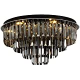 Ceiling Lighting LED Ceiling Lamp Bedroom Round Chandelier Living Room Lighting Wedding Room Warm Romantic Crystal Lamps (Color : Black, Size : 50 * 30cm)
