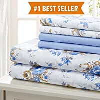ベッドシートブルー花柄コットン6ピースシートセット、しわ、余分なソフト、シート、キング、クイーン、フル、ツイン キング ブルー