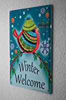 Tin Sign ブリキ看板 Sayings winter Welcome Metal Plate
