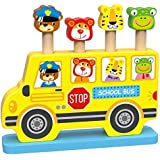 Woody Treasures Montessori Wooden Toys 18 Month Old - Baby Pop Up Toy with Animal Theme - Colorful School Bus with Characters