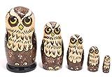 セミョーノフ産 マトリョーシカ 5個組 フクロウ 11cm [ロシア雑貨] (Brown)