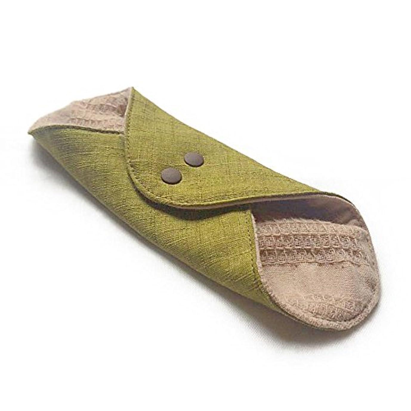 暴力一瞬グラフィック華布のオーガニックコットンのあたため布 Mサイズ(約15×約15cm) 彩り(抹茶)