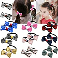 20 Pack Tiny Hair Bows Tie Baby Girls Kids Children Rubber Band Ribbon Hair Bands Ponytail Holders
