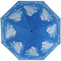 detallan紫外線対策Sun保護クリア傘Heavy Duty、ブルースカイ防水Folding Umbrellas旅行