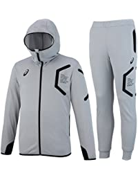 [アシックス] トレーニングフーデッドジャケット&パンツ 上下セット ミディアムシルバー杢 XAT302 11M/XAT402 11M