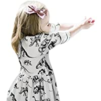 Dourabbi 子供服 女の子 春 可愛い 幼児 赤ちゃん 女の子 漫画風恐竜 プリント サンドレスの服