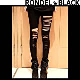 (ロンデルブラック) RONDEL-BLACK YM ブラックコーデ ダメージ クラッシュ レギンス 10分丈 ストレッチ スパッツ レギパン 黒