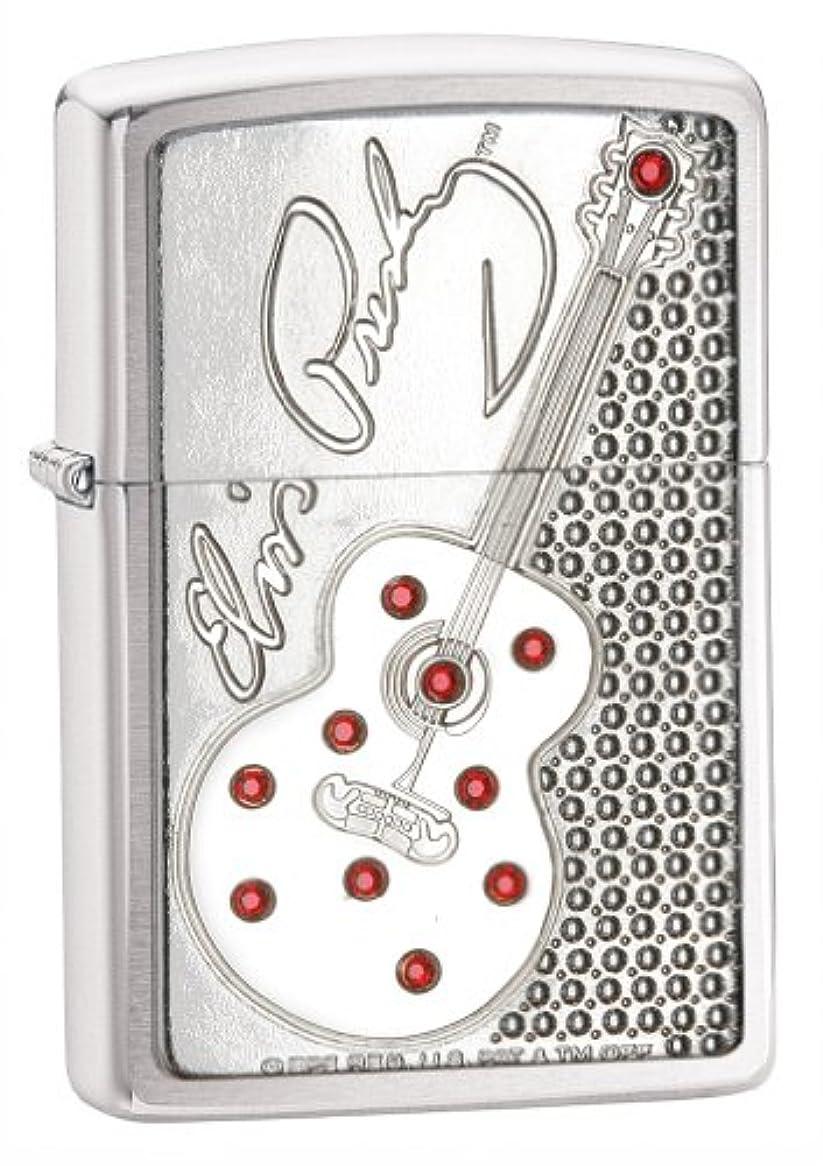 征服者再集計相続人【Zippo】ジッポーエルヴィスプレスリーギターエンブレムブラッシュクロームライター(Elvis Presley Guitar Emblem Brushed Chrome Lighter)#24841