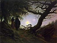 手書き-キャンバスの油絵 - 美術大学の先生直筆 - Man and woman contemplating the moon Caspar David Friedrich 絵画 洋画 複製画 ウォールアートデコレーション -サイズ11