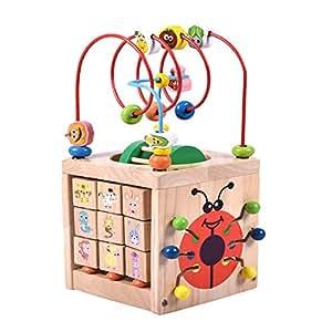 アクティビティキューブズコースター- 木製玩具子供のために、1セットで7つのゲームを含む