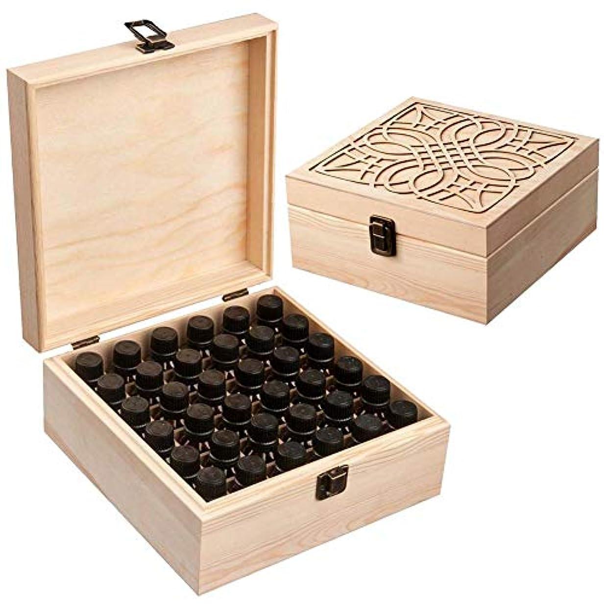 プレゼンタータイル悪用Newfashion エッセンシャルオイル収納ボックス 精油収納 アロマケース 木製 大容量 携帯便利 オイルボックス 飾り物 36本用
