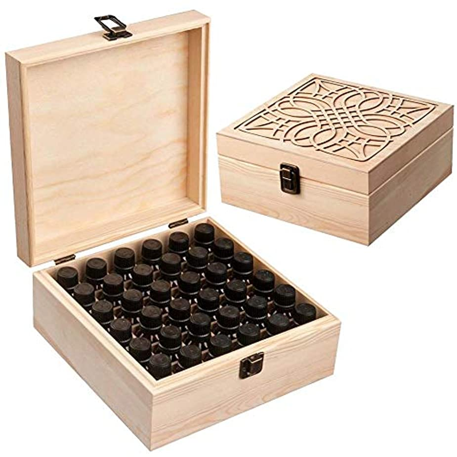 明示的にジュニア解釈Newfashion エッセンシャルオイル収納ボックス 精油収納 アロマケース 木製 大容量 携帯便利 オイルボックス 飾り物 36本用