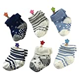 ベビーソックス YULI(ゆり)クリスマス 子供 赤ちゃん 新生児 滑り止め付き 6セット 男の子 女の子 キッズ 可愛い 柔らかい 人気 出産祝い ストライプ星 S(6-12ヶ月)