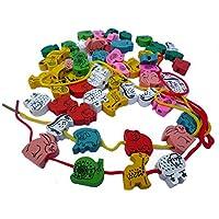 careshine Wooden Lacing Beads stringingゲーム幼児用木製ブロックプレイセットミックス動物