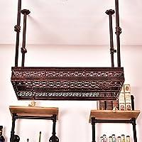 YD-Wine rack 鍛鉄ブロンズサスペンションハンガー調整可能な重力は、様々なカップを掛けることができますヨーロッパの花の形60cm:15カップ、80cm:21カップ、100cm:27カップ # (サイズ さいず : 60 * 32cm)