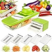 Mandoline、スライサAngel Love多機能野菜ピーラースライサ5に交換可能ステンレススチールブレード、多目的キッチンDicerマルチ野菜、果物、チーズ、オニオン Mandoline Slicer グリーン FBA_SCDJ-5in1