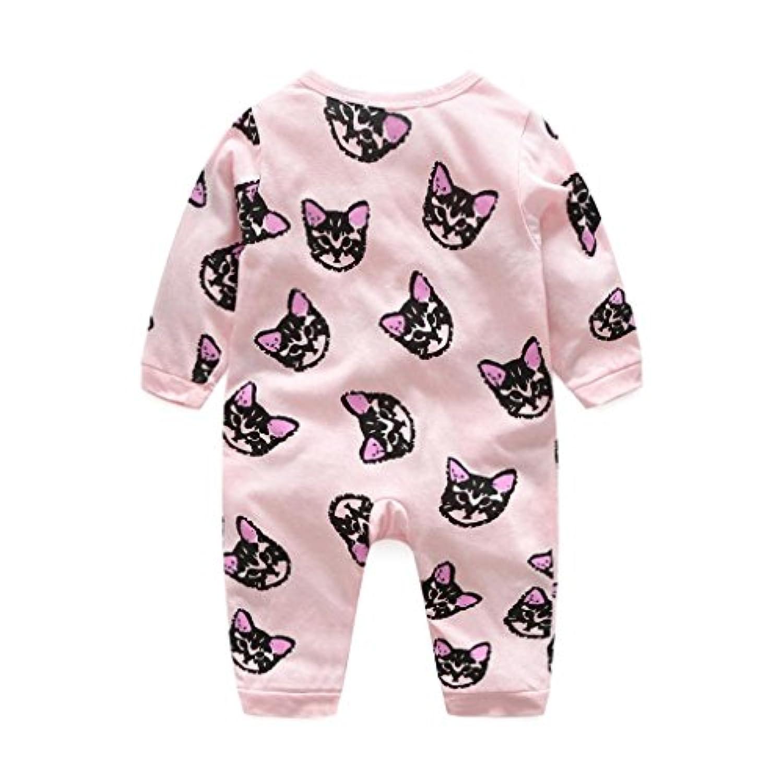 かわいい 猫 カバーオール ベビー服 女の子 赤ちゃん服 ロンパース 幼児 子供服 女の子 長袖 丸首 4サイズ キッズ服 カバーオール 満月/出産祝い/プレゼント65CM-75CM-85CM-95CM(3ヶ月-24ヶ月) (75CM/6-12ヶ月, ピンク)