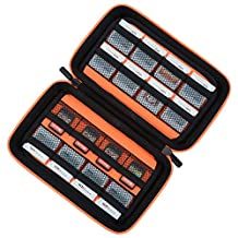 Game Card Storage Holder Hard Case for New Nintendo 3DS, 2DS XL, DS and Nintendo Switch or PS Vita or SD Memory Card - Black/Orange