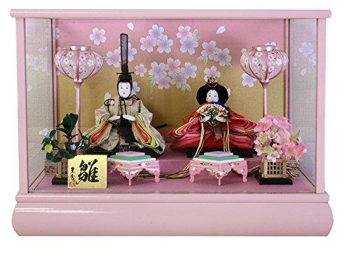 雛人形 ケース入り ひな人形 親王ケース飾り ピンクケース 桜刺繍バック W47×D27×H33cm 25-3-9