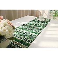 選べる アジアン こだわり テーブル ランナー おしゃれ リビング モダン 北欧 セレクト インテリア 雑貨 刺繍 幾何学 模様 デュベ ライナー カフェ タイプ C (220×30cm, 緑色 グリーン(タッセルは ベージュ色))