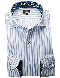 RSD170-004 (スタイルワークス) メンズ長袖ワイシャツ カッタウェイ ワイドカラー ストライプ | 青