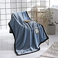 オリジナル ニット 両面フリース固体二層フランネルソファベッド椅子に適した毛布を肥厚しました(165*125 cm) 毛布 (Color : Blue, Size : 165*125cm)