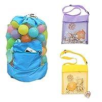子供のためのEQLEFメッシュビーチバッグ、スイムプールのおもちゃやタオルのためのドローストリングバックパックメッシュシェルバッグ(パック3)