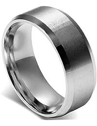 Flongo 8MM メンズ指輪 ステンレスリング シンプル ファション 結婚指輪 愛の証 幸せの鍵 軽量 シルバー 「日本サイズ16号」