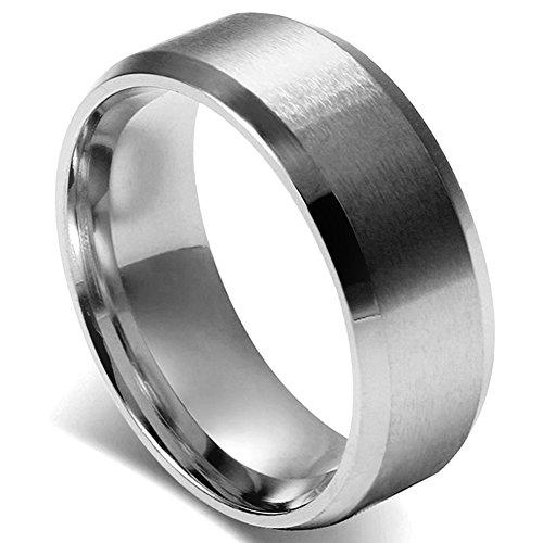 Flongo 8MM メンズ指輪 ステンレスリング シンプル ファション 結婚指輪 愛の証 幸せの鍵 軽量 シルバー 「日本サイズ18号」