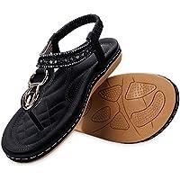 labato Women's Summer Thong Flat Sandals T-Strap Bohemian Rhinestone Slip on Flip Flops Shoes