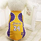Dog Vest Basketball Jersey Cool Breathable Pet Cat Clothes Puppy Sportswear Spring/Summer Fashion Cotton Dog Shirt … (Lakers,