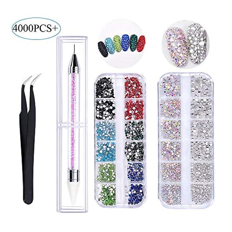イーウェル話をする一口4000 PCSクリスタルABネイルアートラインストーンマルチシェイプ3Dガラスクリスタルラウンドビーズフラットバックガラスチャームジェムストーンズピックアップピンセットとラインストーンピッカードットペン(6サイズ)