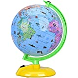 SODIAL 8 Desktop Globe Led Night Light with Stand Illuminated World Globe for Kids, Colorful, Easy-Read, Battery Operation, Globe Map Learning Tool Educational Gift for Student