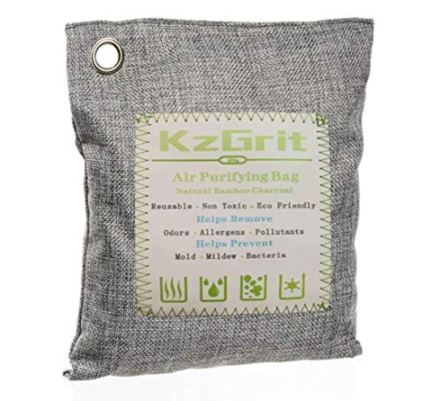 プレミア縫う船KzGrit 竹炭バッグ 消臭 除湿 200g 脱臭剤 空気清浄 無毒 無香料 繰り返し使用可能 環境にやさしい 車内、ペットエリア、部屋、クローゼット、梅雨など湿気の多い季節などで使用可能(グレー)