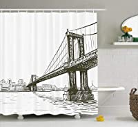 (180cm W By 190cm L, Multi 4) - New York Shower Curtain by Ambesonne, Digital Drawn Brooklyn Bridge Unusual Graffiti Style Old Urban Cityscape Print, Fabric Bathroom Decor Set with Hooks, 190cm Long, Brown White