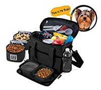 [Overland Dog Gear][Overland Dog Gear 犬のトラベルバッグ - Week Away Tote For Small Dogs - Includes Bag, 2 Lined Food Carriers, Placemat, and 2 Collapsible Bowls] (並行輸入品)