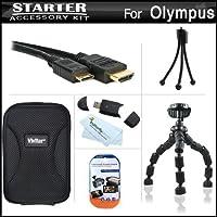 スターターのアクセサリーキットOlympus VR - 340デジタルカメラはハード携帯ケース+ 7柔軟な三脚+ Mini HDMIケーブル+ USB High Speed 2.0SDカードリーダー+ LCDスクリーンプロテクター+ミニ卓上三脚+マイクロファイバークリーニングクロス