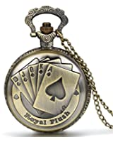 JewelryWe 懐中時計 アンティーク風 ネックレス 時計,ペンダント ウォッチ ポケットウォッチ,トランプ,合金,バレンタイン プレゼント