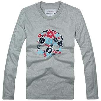 (ハイドロゲン)HYDROGEN ロンT 長袖 Tシャツ メンズ フラワー スカル (XL, グレー)