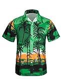 APTRO(アプトロ)アロハシャツ メンズ 半袖シャツ ハワイ風 通気速乾 UV対策 超軽量 ゆったり 花柄シャツ ST30グリーン 日本 2XL(タグ 3XL)