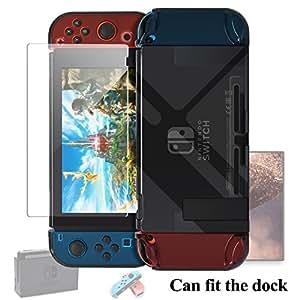 Nintendo Switchカバー FYOUNG ドックにサポート 任天堂スイッチハードケース ニンテンドースイッチ 保護フィルム 外殻 Joy-Conカバー 強化保護ガラス ガラス飛散防止 指紋防止 気泡ゼロ 耐衝撃 着脱簡単 (ブラック)