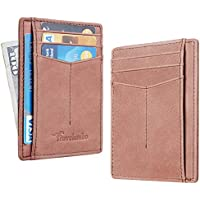 Travelambo Minimalist Slim Front Pocekt Wallet for Men and Women RFID Blocking