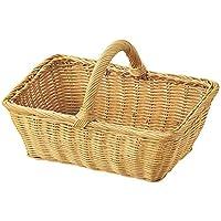ディスプレイ バスケット ラタン 籐 パン用 小物入れ 収穫用 かご ナチュラル 28×20×10cm HW-08NA